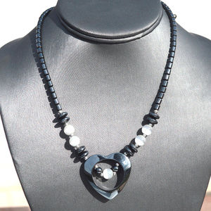 Heart  Pendant Natural Hematite Necklace Beaded